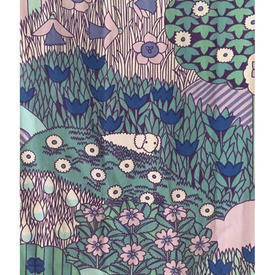 """Pair Drapes 7'9"""" x 4' Turquoise / Lilac Sheep in Fields Print"""
