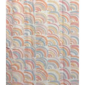 """Pair Drapes 9'6"""" x 6' Peach Rainbows Print"""