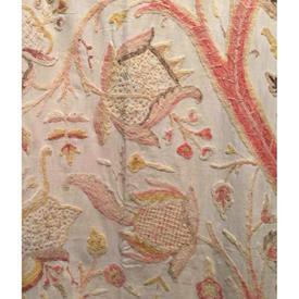 """Door Curtain 6'7"""" x 4' / Cream Linen / Peach Tree of Life Crewel"""