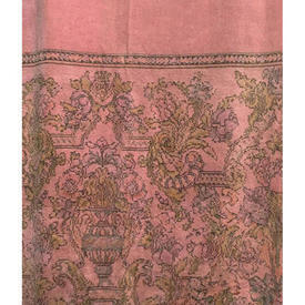 "Door Curtain 7'4"" x 5' Rose Chenille / Large Floral Band"