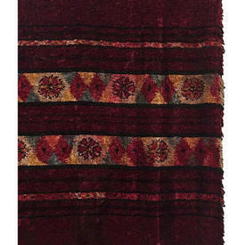 "Door Curtain 7'6"" x 3'5"" Burgundy Chenille / Small Floral Diamond Stripe"