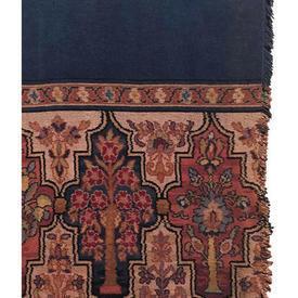 "Door Curtain 7'6"" x 3'10"" Navy Chenille / Moorish Floral Band"