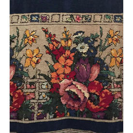 "Door Curtain 7'7"" x 3'11"" Navy Chenille / Large Floral Trellis Band"