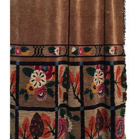 "Door Curtain 8'9"" x 5' Brown Chenille / Floral Squares Band"