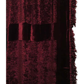 Door Curtain 9' x 5' Burgundy Plush / Banded / Fringe