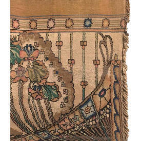 """Door Curtain 7'5"""" x 3'6"""" Sand Chenille / Floral Scroll Band"""