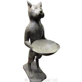 Black Metal Egyptian Cat Holding A Bowl