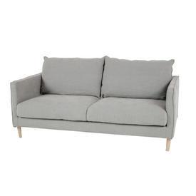 Pale Green Linen 2 Seat Pale Wooden Leg Sofa