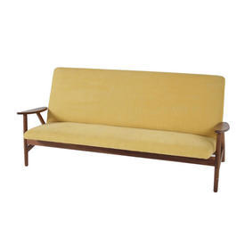 Hans Werner American Walnut & Yellow Ray 3 Seater Sofa