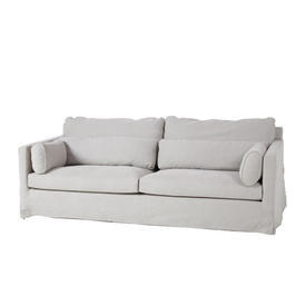 Pale Grey Loose Cover Fabric 4 Seat Sofa