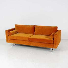 Sunset Orange 59Th Street Sofa with Matching Bolsters