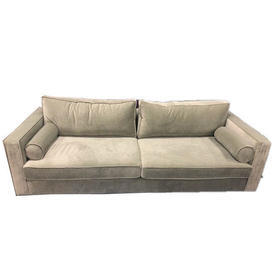 202Cm Pale Grey Velvet 59Th Street Sofa with Bolsters