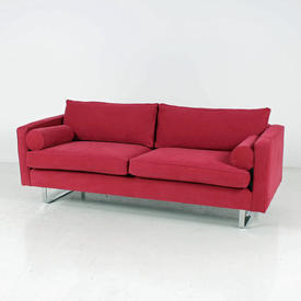 Raspberry Red 59Th Street Sofa with Matching Bolsters