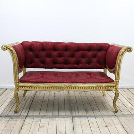 Carved Gilt Hall Settee in Dark Red Damask
