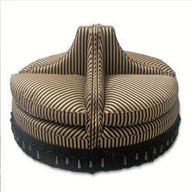 Black & Cream Striped Deco Style Circular Segmented Ottoman