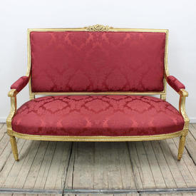 Gilt 3 Seater Settee in Red Damask