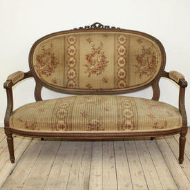 Mahogany Louis Style 2 Seater Settee Fawn/Cream Bird Pattern Upholstery