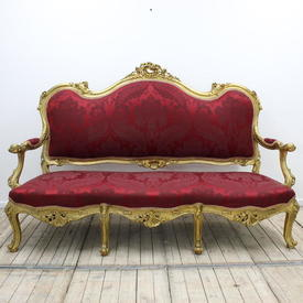 Carved Gilt 3 Seater Open Arm Settee Upholstered in Dark Red Damask