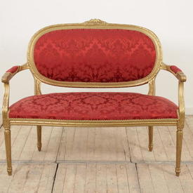 Gilt Frame Louis Style 2 Seater Settee in Red Damask