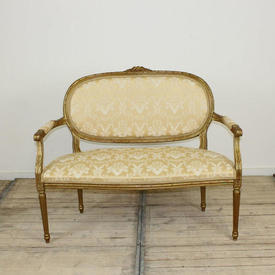 Gilt Frame Louis Style 2 Seater Sofa in Pale Gold Damask Upholstery