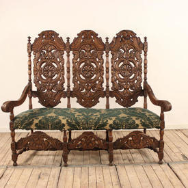 Carved Oak Triple Dome And Pierced Back Hall Bench with Open Arms, Green And Cream Brocade