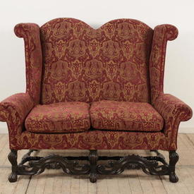 Red And Gold Velvet Upholstered Wing 2 Seater Queen Anne Style Settee (C)