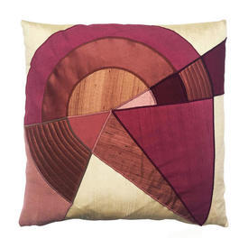 "Cushion 16"" x 16"" Plum Abstract Geo Applique Silk"