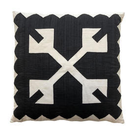 "Cushion 16"" x 16"" Black / White Aztec Geo Silk Applique"