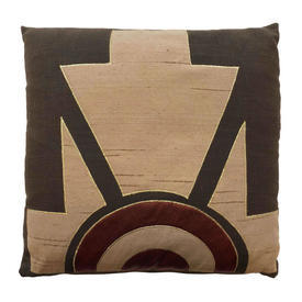 "Cushion 18"" x 18"" Brown Aztec Satin Applique on Linen"