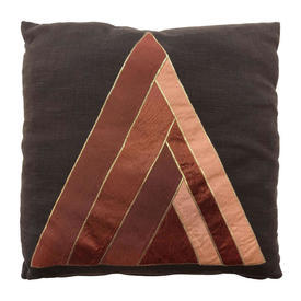 "Cushion 18"" x 18"" Chestnut Pyramid Satin Applique on Linen"