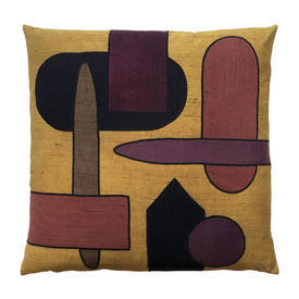 "Cushion 17"" x 17"" Ginger Abstract Shapes Silk Applique"