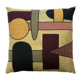 "Cushion 17"" x 17"" Gold Abstract Shapes Silk Applique"