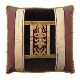 "Cushion 16"" x 16"" Dark Brown Velvet / Rust Silk / Scroll Emb Applique"
