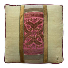 "Cushion 17"" x 17"" Bright Pink / Lime Cut Velvet / Silk Applique Panels"