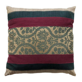 "Cushion 16"" x 16"" Dark Green / Plum Damask / Silk Banded Applique"