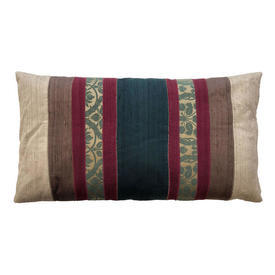 "Oblong Cushion 15"" x 27"" Dark Green / Plum Damask / Silk Banded Applique"