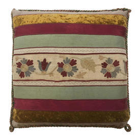 "Cushion 18"" x 18"" Magenta / Green Floral Crewel / Silk & Velvet Applique"