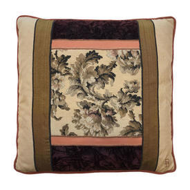 "Cushion 18"" x 18"" Chestnut Floral Tapestry Panel / Silk & Velvet Border"