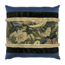 "Cushion 17"" x 17"" Cerulean Floral Tapestry Panel / Silk / Tuft Fringe"