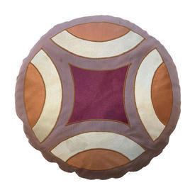 "Circ. Cushion 18"" Ginger / Plum Faded Geo Satin Applique"