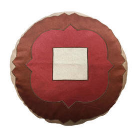 "Circ. Cushion 18"" Rust Geo Satin Applique"