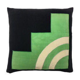 "Cushion 17"" x 17"" Black Linen / Bright Green Satin Geo Applique"