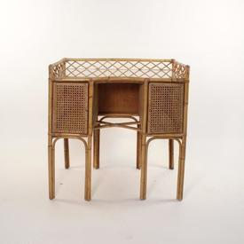 Bamboo & Rattan 2 Door Dressing Table/Desk with Glass Top