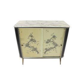 50'S 2 Part Grey Mottle B + W Oriental Sliding Door Cabinet