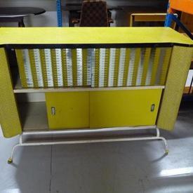 50'S 4' Yellow Vinyl Mirror Sliding Door Sideboard