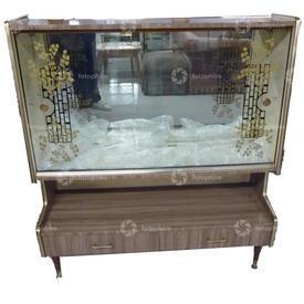 Lt Brown Formica Etched Sliding Glass Door 2 Drawer Display Cabinet