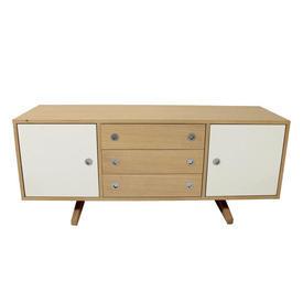 140Cmx50Cmx60Cm Soaped Oak/White 3 Drawer/2 Door Hudson  Low Sideboard