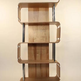 164Cmx80Cmx30Cm Oak  & Chrome Estrade Open Shelf Unit