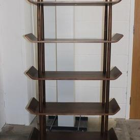 Walnut 'Idk' 5 Tier Up Curved Ends Open Shelf Unit