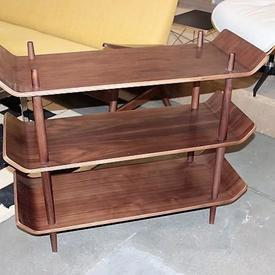 Walnut 'Idk' Narrow 3 Tier Up Curved Ends Open Shelf Unit